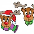 Stock Vector: Four cute Christmas deers