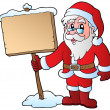Santa Claus holding wooden board — Stock Vector