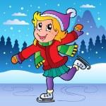 Winter scene with skating girl — Stock Vector #7788934