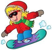 Cartoon girl on snowboard — Stock Vector