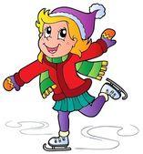Cartoon skating mädchen — Stockvektor