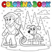 Coloring book winter theme 1 — Stock Vector