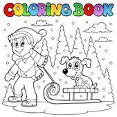Coloring book winter theme 1 — Stock Vector