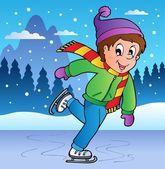Escena de invierno con chico de patinaje artístico sobre hielo — Vector de stock