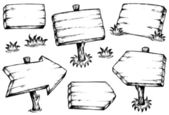 Wooden boards drawings collection — Stok Vektör