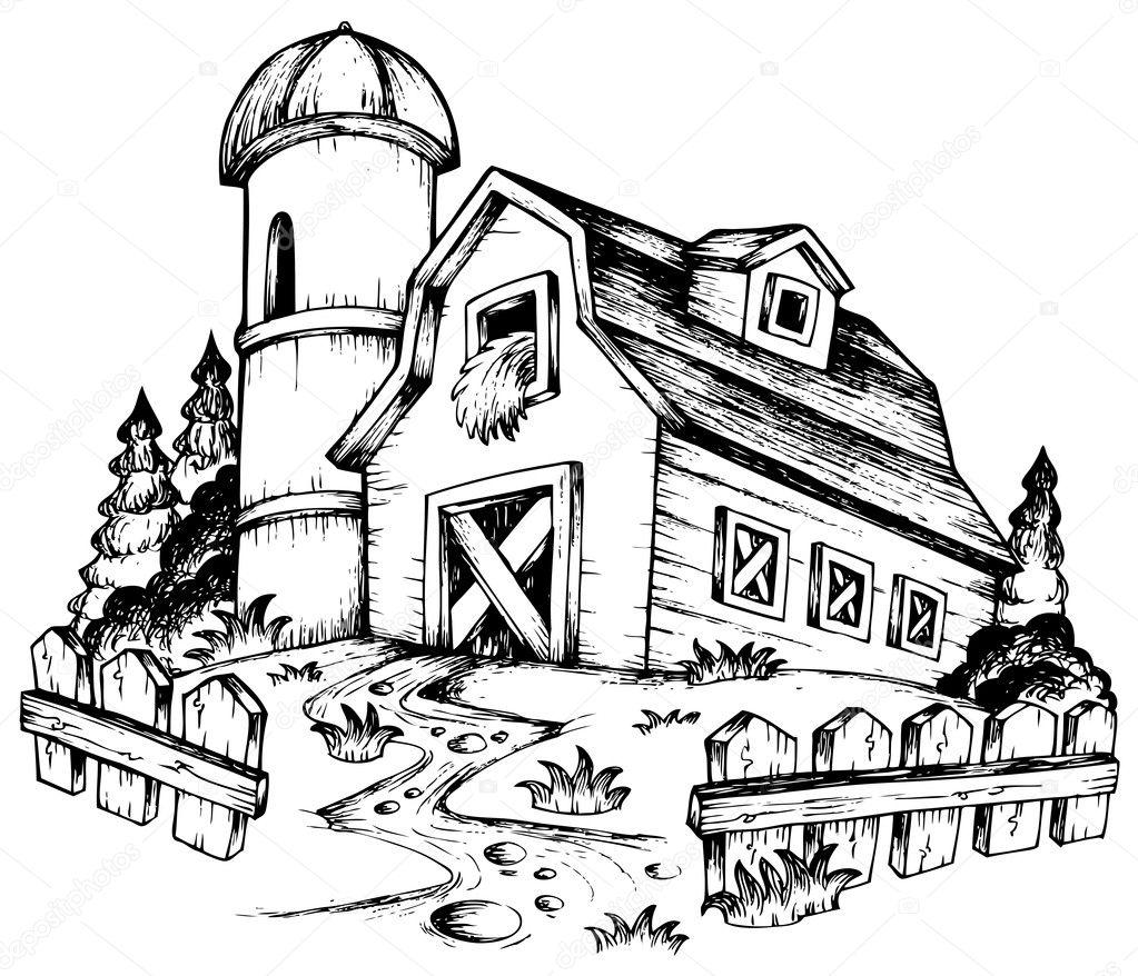 图1-矢量插画的农场主题– 图库插图