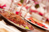Table setting with appetiizer — Stock Photo