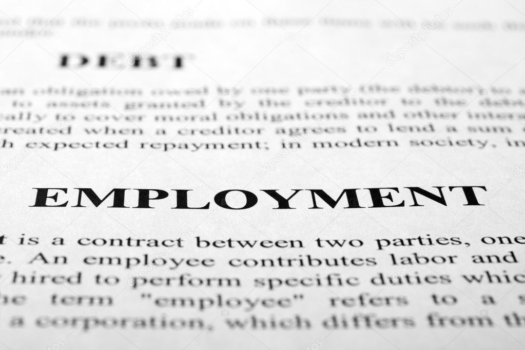 The word employment shot with artistic selective focus. — Photo #7685878