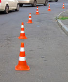 Abstract road cones heap, security barier details. — Photo