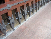 Vintage castle wooden gates, history details. — Stock Photo