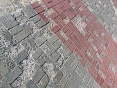 Damaged brick road, construction details. — Stock Photo