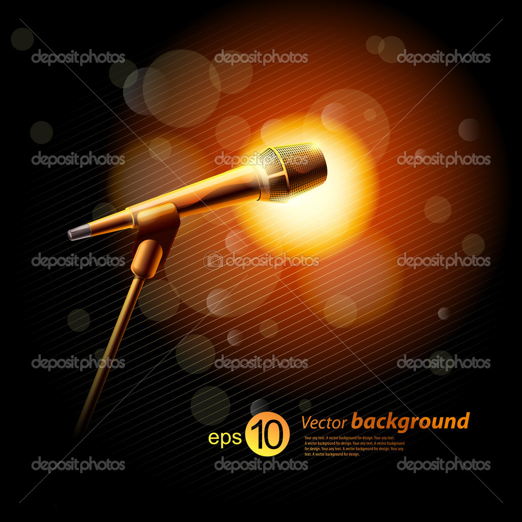 Background for design with a microphone and concert light — Stock Vector #6795826