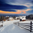 Winter landscape in the village. — Stock Photo