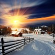 Stock Photo: Winter landscape in village.