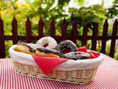 A couple of donuts on table. — Stock Photo