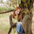 Beautiful girl at outdoor in autumn time — Stock Photo #7195276