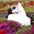 Young just married couple sitting close to each other on bench i — Stock Photo #7317053