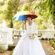Beautiful bride in the park. - Stockfoto