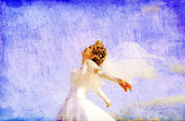 Young bride at blue sky background — Stock Photo