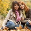 Two girls in the autumn park. — Stock Photo