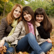 Three girls in the autumn park. — Stock Photo