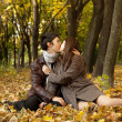 Couple kissing in the park — Stock Photo #7413152