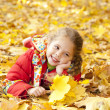 Child in autumn park. — Stok fotoğraf