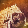 Two kissing in Praha, Czech Republic at night. — Stock Photo