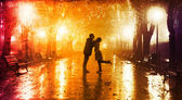 Couple walking at alley in night lights. — 图库照片