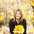 Smiling happy girl in autumn park — Stock Photo #7539614