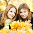 Two girls at outdoor in the park — Stock Photo