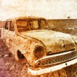Old car at field. Photo in multicolor image style — Stock Photo