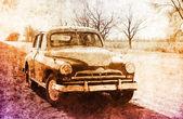Old classic russian car near road. — Stock Photo
