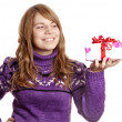 Blonde girl with present box at st. Valentine's day. — Stock Photo