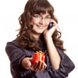 Business women calling by phone and show you gift. — Stock Photo