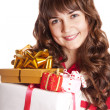 Beautiful brunette girl with present box. — Stock Photo #7754868