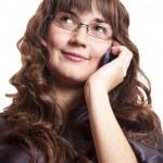 Business women calling by phone. Studio shot. — Stock Photo