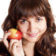 Brunette girl with apple — Stock Photo #7754942