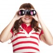Brunette girl with binocular. — Stock Photo #7754948