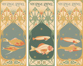 Vintage labels: fish — Stock Vector