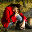 The lovely woman in a red coat — Stock Photo