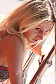 The beautiful woman the blonde — Stock Photo