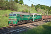 Coming nearer cargo train — Stock Photo