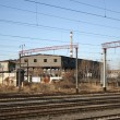 Railway junction against eclectic lines - Stock Photo