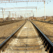 Railway junction against eclectic lines — Stock Photo