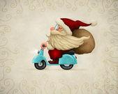 Zmotoryzowany santa claus — Zdjęcie stockowe
