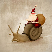 Santa Claus rides a snail — Stock Photo
