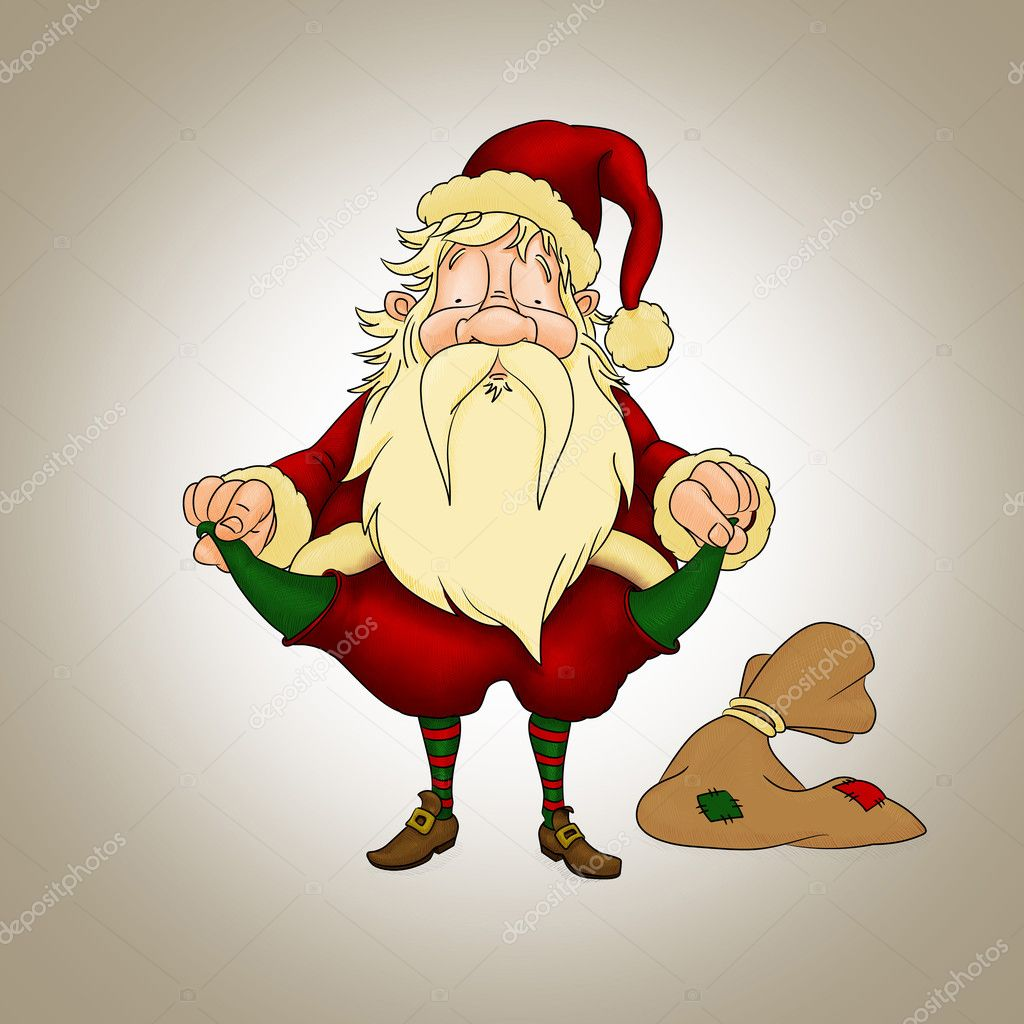 Santa Claus with empty pockets in crisis period — Stock Photo #7921781