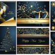 Royalty-Free Stock Vector Image: Merry Christmas and Happy New Year collection gold and blue