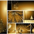 Gold Merry Christmas and Happy New Year collection — Stock Vector